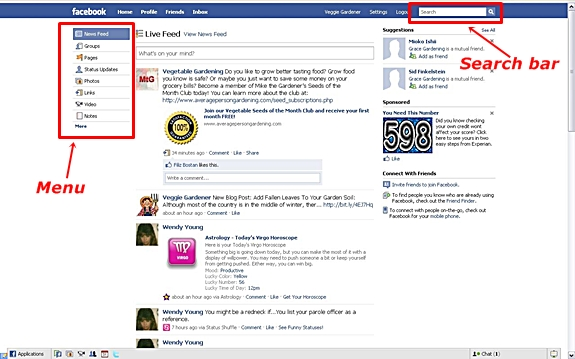 Use the Search Bar or Menu on Facebook
