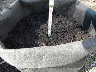 Fill Potato Grow Bag with 4 Inches of Potting Soil Mix and Compost